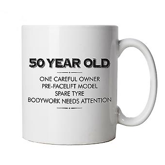 50 Year Old One Careful Owner Funny Mug | Humour Laughter Sarcasm Jokes Messing Comedy | Ideal Top Father Mother Day Wife Husband Mum Dad | Age Related Cup Gift