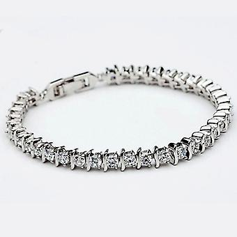 18K White Gold Plated Spiral Bracelet, 42 AAA+ Swiss Cubic Zirconia Stones, 19 cm Length
