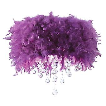 Plafond Diyas Ibis avec purple Feather Shade 3 Light Polished Chrome/Crystal