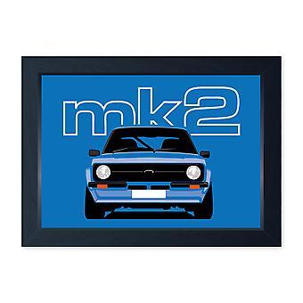 Blue Mk2 Escort, Quality Framed Classic Car Print - Kitchen Bathroom Man Cave Art