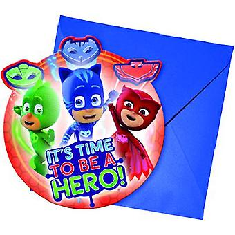 PJ masks Pyjama heroes party invitation cards 6 piece children birthday theme party
