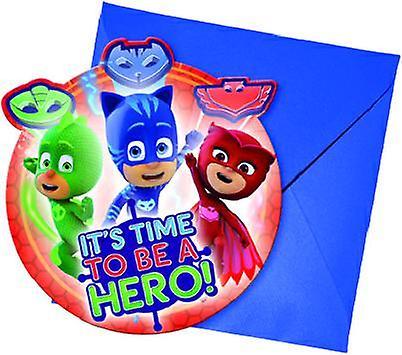 PJ masks Pyjama heroes party invitation cards 6 piece children birthday theme party