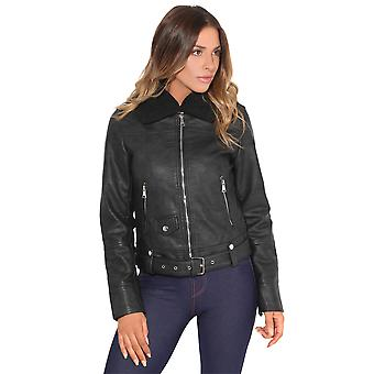 KRISP® Women Ladies Fur Collar PU Leather Aviator Jacket Biker Cropped Fitted Coat
