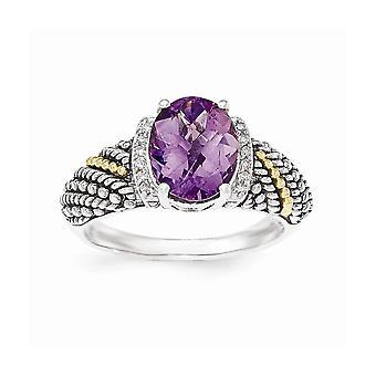 925 Sterling Argent Avec 14k Amethyst et Diamond Ring - Taille de l'anneau: 6 à 8