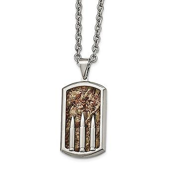 Stainless Steel Polished Enameled Camo Bullet Dogtag Necklace - 24 Inch