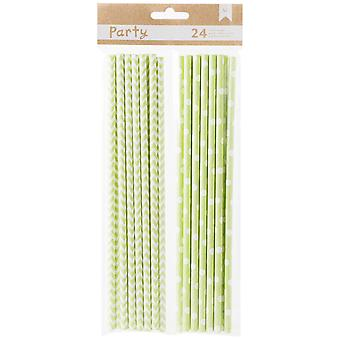 DIY Party Paper Straws 24/Pkg-Green & White 369822