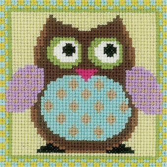 Funny Owls Miniatures On Aida Counted Cross Stitch Kit-3.25