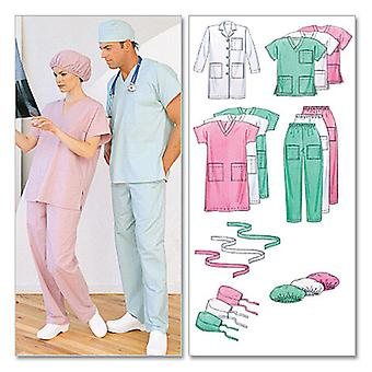 Misses' Men's Lab Coat, Dress, Top, Pull  On Pants, Hats And  Sm  Med  Lrg Pattern M6107  0Y0