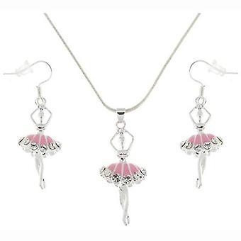 Pink Enamel and Crystal Dancing Ballerina Pendant and Earrings Set