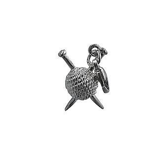 Silver 16x12mm Ball of Wool and Knitting Needles Charm on a lobster trigger