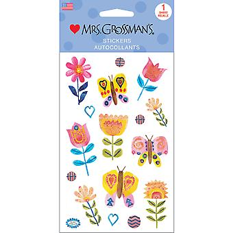Mrs. Grossman's Stickers-Collaged Butterflies & Blooms 13515