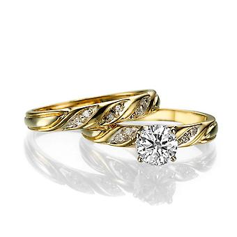 3/4 Carat G VS2 Diamond Engagement Ring 14k Yellow Gold Vintage Ring Bridal Set Engagement Set
