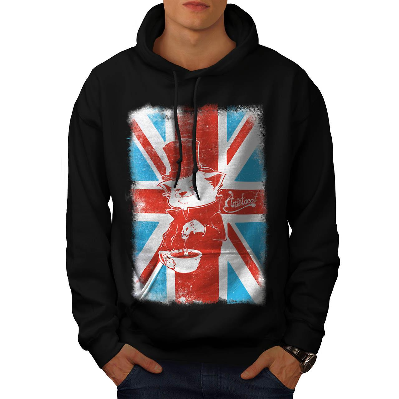 Great Britain Cat Flag UK Men Black Hoodie | Wellcoda