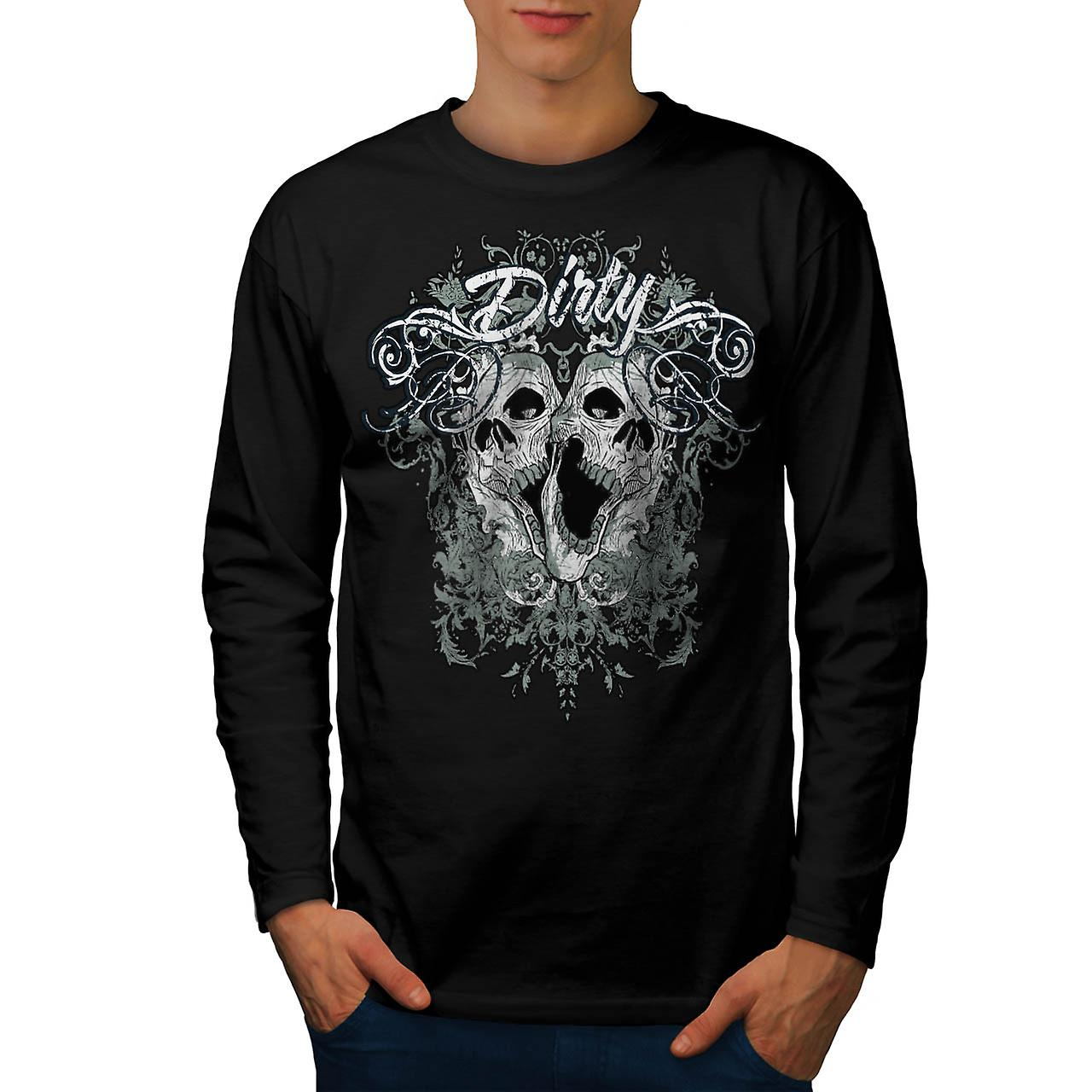Dirty Evil Grave Yard Dead Skull Men Black Long Sleeve T-shirt | Wellcoda