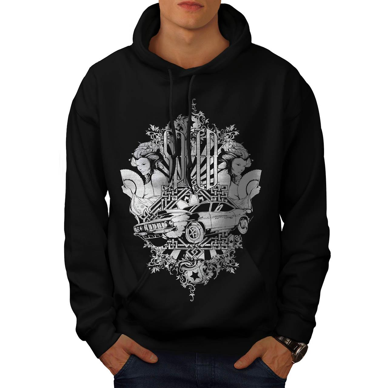 Speed Vintage Girl Car Race Motor Men Black Hoodie | Wellcoda