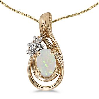 14k Yellow Gold Oval Opal And Diamond Teardrop Pendant with 18