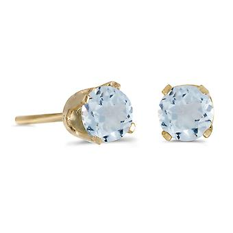 14k Yellow Gold 4 mm Round Aquamarine Stud Earrings
