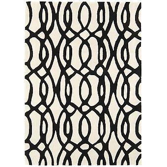 Matrix Black & White Trellis Wool  Viscose Rug