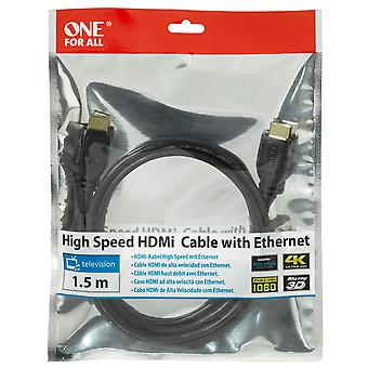 One For All High Speed HDMI Cable with Ethernet 1.5m - Black (CC4010)
