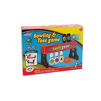 Children Bowling and Toss Playing Game 5 Pins Gamebase and Bowling Balls