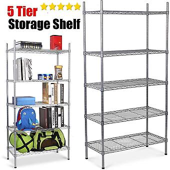 5 Tier Heavy Duty Metal Steel Storage Shelf Kitchen Garage Wire Rack Shelving