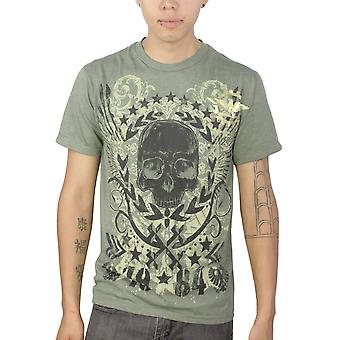 Route 66 Black Skull Graphic Design Printed Men's Casual T-shirt, Green
