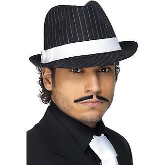 Mafia Al Capone Hat gangster black with stripes