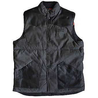 Crooks & Castles Mayan Woven Reversible Vest Heather Grey Black