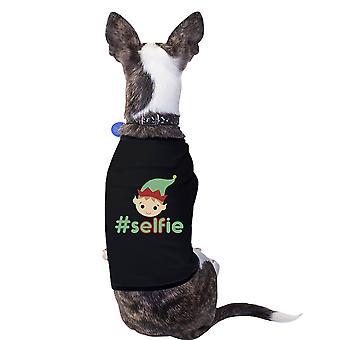 Hashtag Selfie Elf Funny Graphic Pet Shirt Black Gift For Christmas