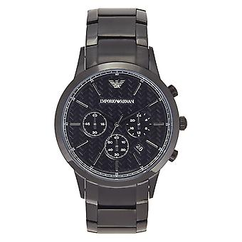 Armani Watches Ar2485 Men's Black Steel Bracelet Chronograph Watch