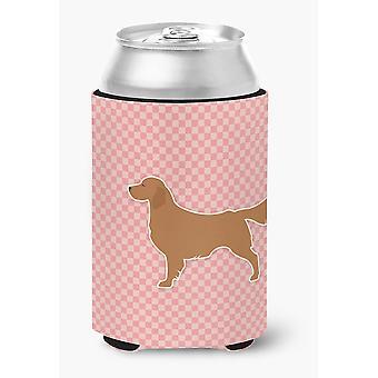 Golden Retriever Checkerboard Pink Can or Bottle Hugger