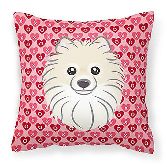 Carolines Treasures  BB5277PW1818 Pomeranian Hearts Fabric Decorative Pillow