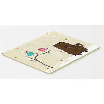 Рождественские подарки между друзьями Чоу Чоу шоколадный кухня или ванна мат 20 x 30