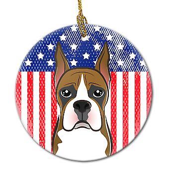 Carolines Treasures  BB2153CO1 American Flag and Boxer Ceramic Ornament