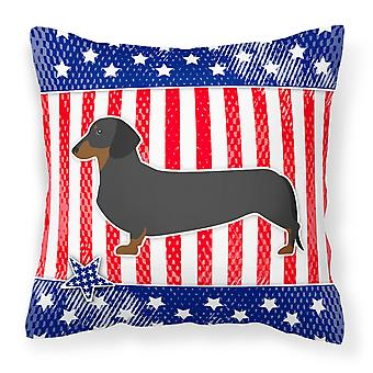 USA Patriotic Dachshund Fabric Decorative Pillow
