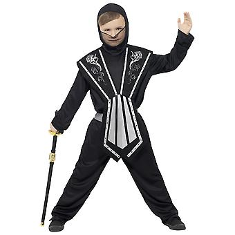 Children's costumes  Kids ninja costume black-silver