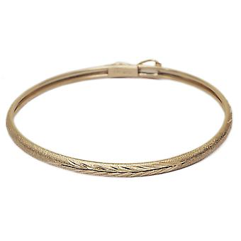 "Floreo 10k Yellow Gold Kids bangle bracelet Flexible Round with Diamond Cut Design (0.12"" )"
