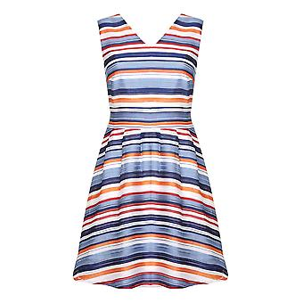 Yumi Womens/Ladies Stripped V Neck Skater Dress