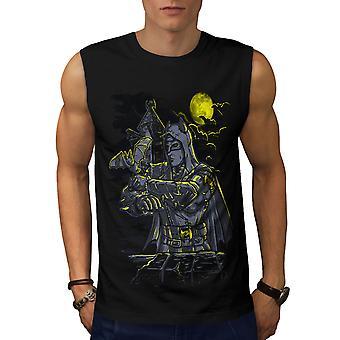 Bat Man Night Fantasy Men BlackSleeveless T-shirt | Wellcoda