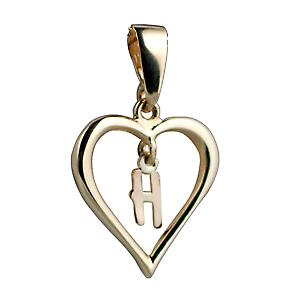 9ct Yellow Gold 18x18mm heart with a hanging Initial H