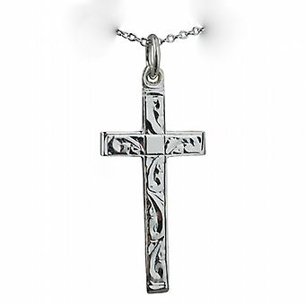 Silver 30x16mm hand engraved flat latin Cross with bevelled ends on a rolo Chain 14 inches Only Suitable for Children