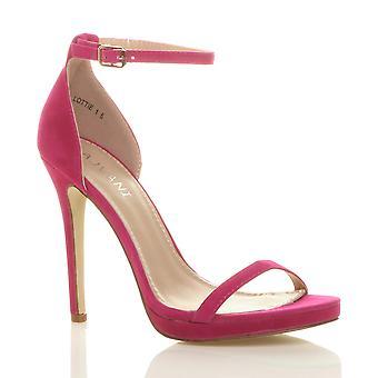Ajvani kvinnors hög klack peep toe knappt det ankel rem spänne sandaler
