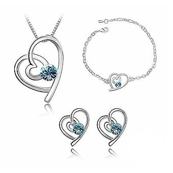 Sky Blue Silver Love Heart Themed Jewellery Necklace Bracelet and Earrings Set BGCW53