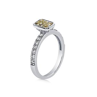 Carat London 1.25Ct Sterling Silver, Canary Yellow Emerald Bezel Set & Micro Set