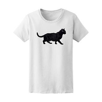 Side View Walking Black Cat Tee Women's -Image by Shutterstock