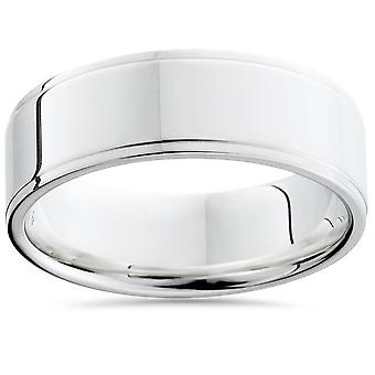 Flat Step Cut Wedding Band 14K White Gold