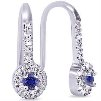 1 / 3ct blauwe saffier & Diamond Drop Earrings 10K witgoud
