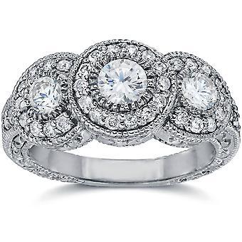 1 1 / 2ct Vintage tre sten diamant förlovningsring 14K vitguld