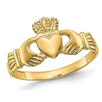 Ladies Claddagh Ring in Polished 14K Yellow Gold