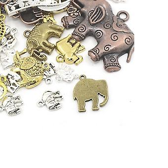 30 Grams Multicolour Enamel & Alloy 5-40mm Elephant Charm/Pendant Mix HA08620
